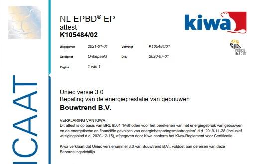 Uniec 3 BRL 9501 geattesteerd en beschikbaar in de webshop!